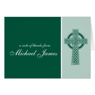 Religious Cross First Communion Thank You Card