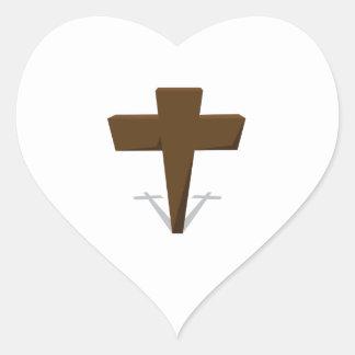 Religious Cross Heart Sticker