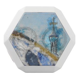 Religious Cross in Barcelona Spain White Bluetooth Speaker