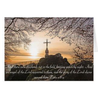 Religious Cross on the Mountain Bible Verse Card