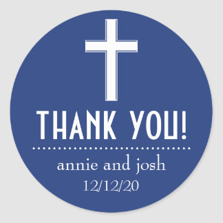 Religious Cross Thank You Labels (Navy / White) Round Sticker