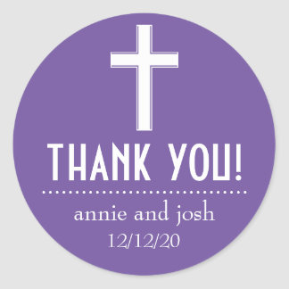 Religious Cross Thank You Labels (Plum / White) Round Sticker