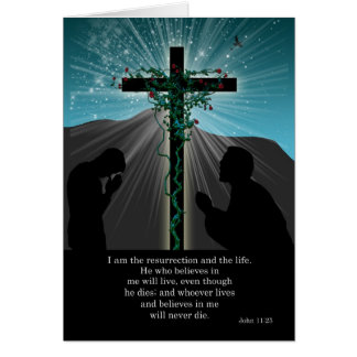 Religious Easter Card - Praying And Cross