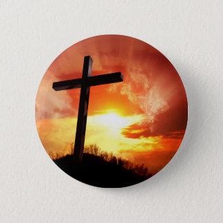 Religious Easter Cross at Sunset 2 Inch Round Button