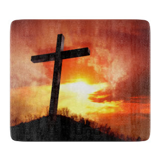 Religious Easter Cross at Sunset Cutting Board