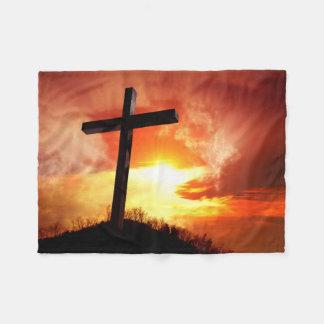 Religious Easter Cross at Sunset Fleece Blanket