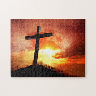 Religious Easter Cross at Sunset Jigsaw Puzzle