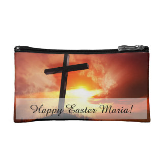Religious Easter Cross at Sunset Makeup Bags