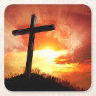Religious Easter Cross at Sunset Square Paper Coaster