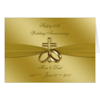 Religious Golden 50th Wedding Anniversary Card