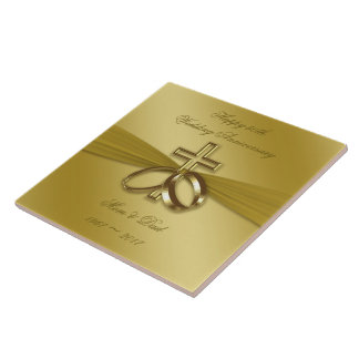 Religious Golden 50th Wedding Anniversary Tile