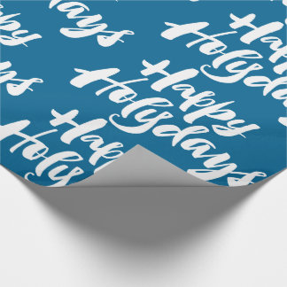 Religious Lettering Happy Holidays Holy Days Blue Wrapping Paper