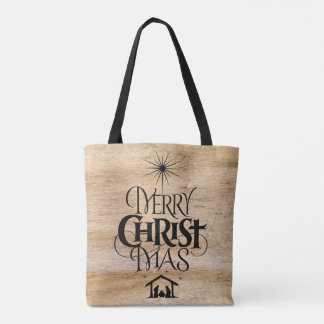 Religious Merry Christ Christmas Black Wood Tote Bag