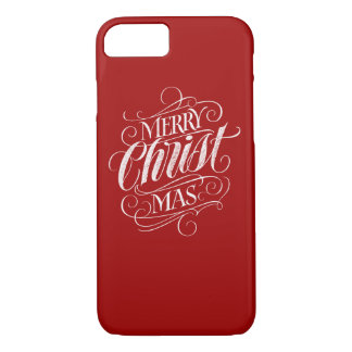 Religious Merry Christmas Chalk Lettering Red iPhone 8/7 Case