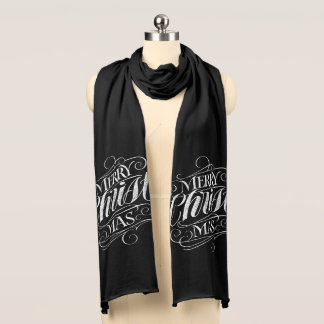 Religious Merry Christmas Chalkboard Calligraphy Scarf