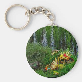 Religious Offering, Ubud Bali Basic Round Button Keychain