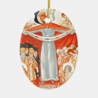 Religious painting ceramic oval ornament