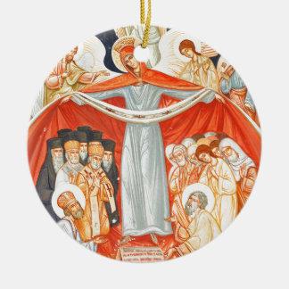 Religious painting round ceramic ornament