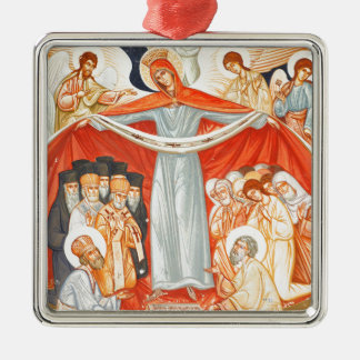Religious painting Silver-Colored square ornament