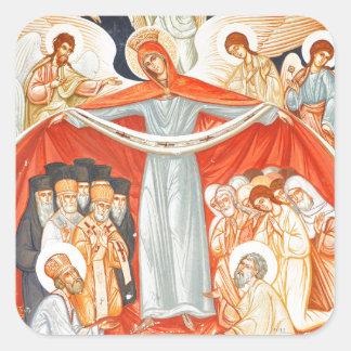 Religious painting square sticker