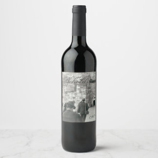 Religious People Church Ancient Stone Building Wine Label