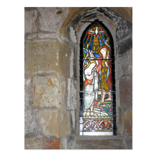 Religious Stained Glass Window Post Card