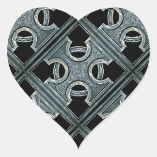 Religious Stone Cross Pattern Heart Stickers