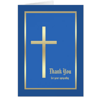 Religious Sympathy Thank You Card  - Blue Greeting Card