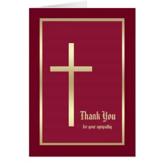 Religious Sympathy Thank You Note Card, Burgandy Card