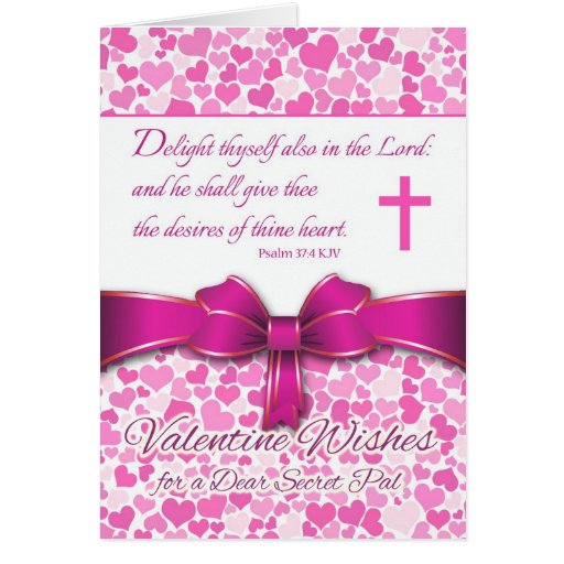 Religious Valentine for Secret Pal, Psalm 37:4 Cards