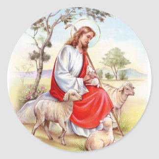 Religious vintage Easter, Jesus the shepherd Classic Round Sticker