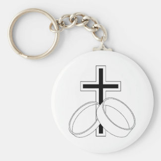 Religious Wedding Invitation Basic Round Button Keychain