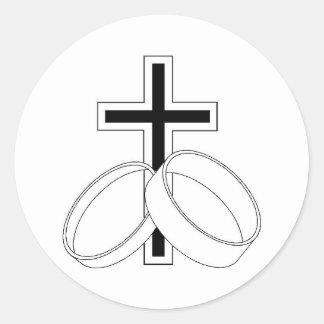 Religious Wedding Invitation Round Sticker
