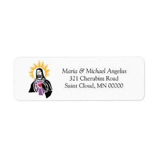 Religious Wedding Sacred Heart Return Address Return Address Label