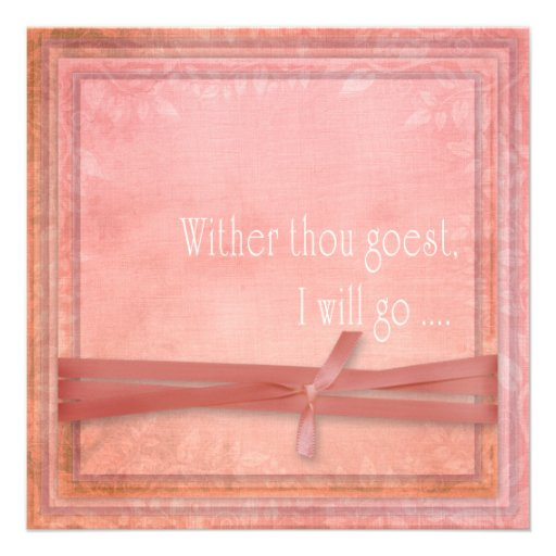 Religious Wedding Whither Thou Goest Custom Announcement