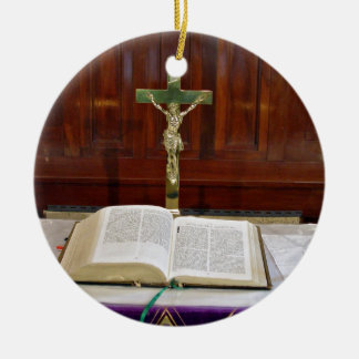 Religous Altar with Bible, Cross and Candles Ceramic Ornament
