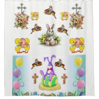 Religous easter bunny white showercurtain