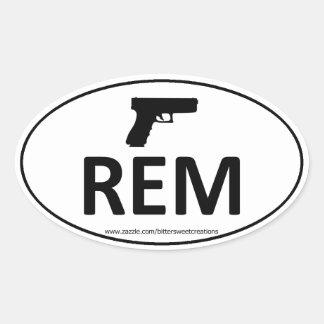 REM REMINGTON Gun Pistol Oval Sticker