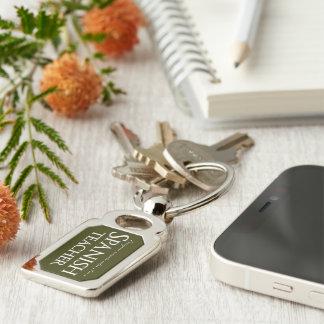 Remain Calm, I'm a Spanish Teacher Silver-Colored Rectangle Keychain