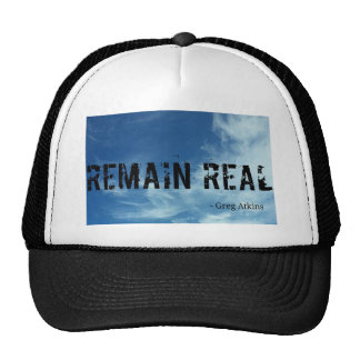 Remain Real sky background hat. Trucker Hat