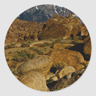 REMARKABLE HIGH DESERT ROCK FORMATION ROUND STICKER