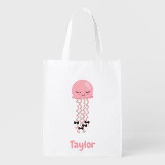 Remarkable Pink Jellyfish Kawaii theme Reusable Grocery Bag