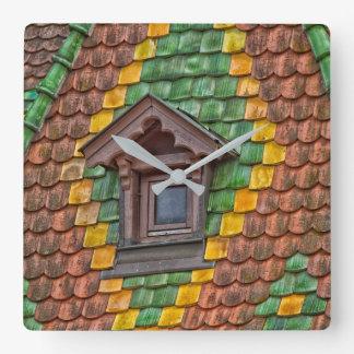 Remarkable roofing in the center of Obernai Square Wall Clock