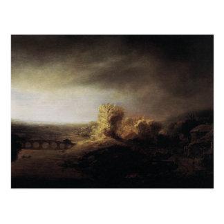 Rembrandt Art Painting Landscape Postcard