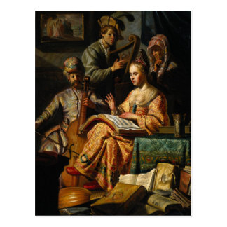 Rembrandt Art Painting Musical Allegory Post Cards