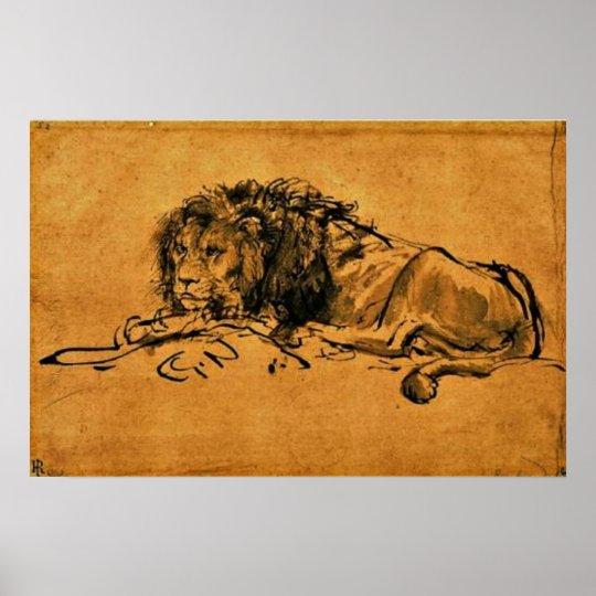 Rembrandt - At Rest Leo Poster