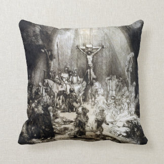 Rembrandt Christ Crucified between the Two Thieves Throw Pillow