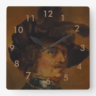 REMBRANDT MAN WITH FEATHERED HAT 2 SQUARE WALL CLOCK