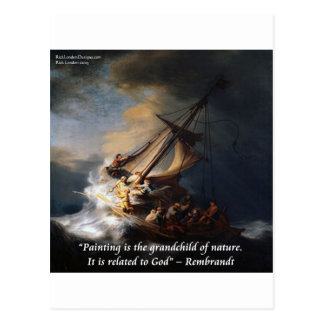 Rembrandt Sea Of Galilee & Nature Quote Postcard
