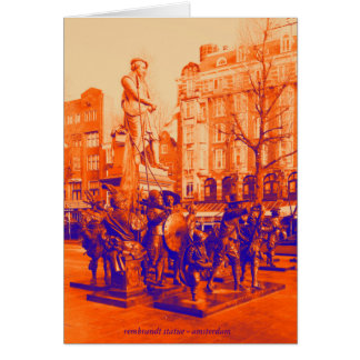 rembrandt statue amsterdam digital photo dualcolor card